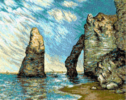 Krif # 345 - Rocks & Seawall in Aval (Monet)